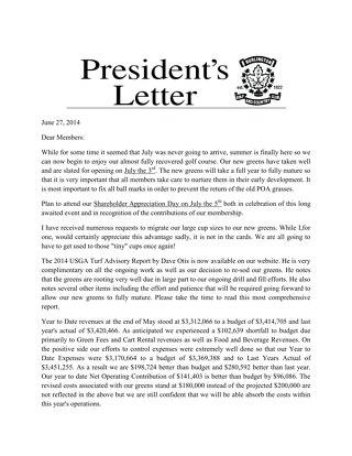 President's Letter ~ June  2014