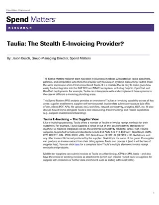 Spend Matters on Taulia eInvoicing