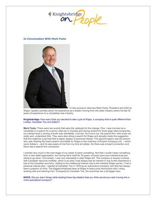 Mark Foote, President and CEO, Wajax