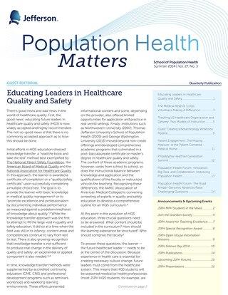 Population Health Matters Summer 2014 Vol. 27. No. 3