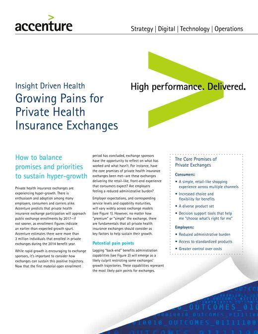 Accenture Growing Pains for Health Insurance Exchanges