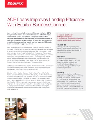 Case Study: ACE Loans Improves Lending Efficiency with Equifax BusinessConnect