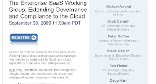 Enterprise SaaS Working Group: The cloud is ready for your enterprise, is your enterprise ready for the cloud?