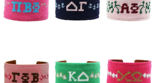 Swooning over these darling needlepoint sorority cuffs by York...