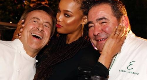 #vegasuncorked @dbbrassierie Emeril Lagasse with Tyra Banks #fun...