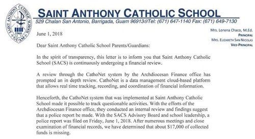 Saint Anthony's Catholic School reports almost $20K in missing funds