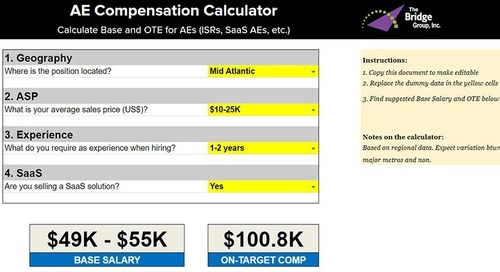 AE and Sales Leader Compensation Calculator