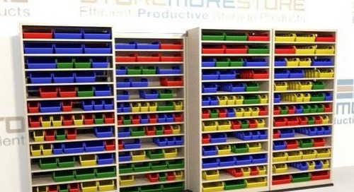 Use Sliding Bin Shelving to Organize Small Parts