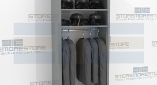 Steel Rod Shelving with Overhead Storage for Uniforms & Equipment