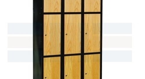 Hybrid Metal Steel Frame Lockers with Wood Oak Doors