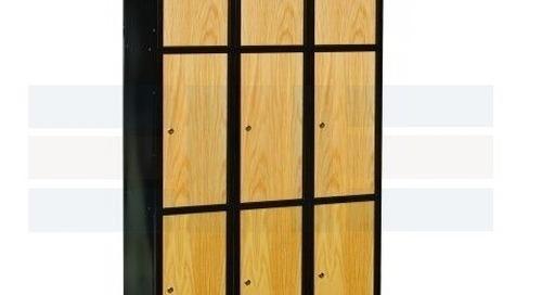 Hybrid Metal Steel Frame Lockers with Wood Oak Doors