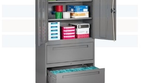 Mixed Media Cabinets with Combination Shelves & File Drawers