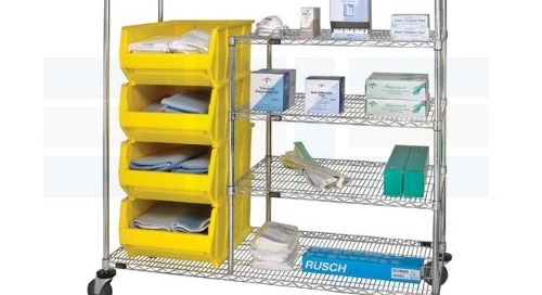 Medical Bin Carts on Wire Shelves for Hospital Transport
