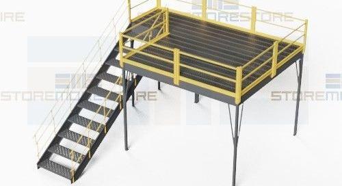 OSHA Compliant Mezzanine Prefabricated Kits with Guardrail Stairs