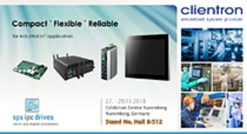Clientron to exhibit its embedded computing innovations at SPS IPC Drives 2018