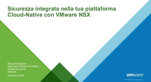 Sicurezza integrate nella tua piattaforma Cloud-Native con VMware NSX (Pivotal Cloud-Native Workshop: Milan)