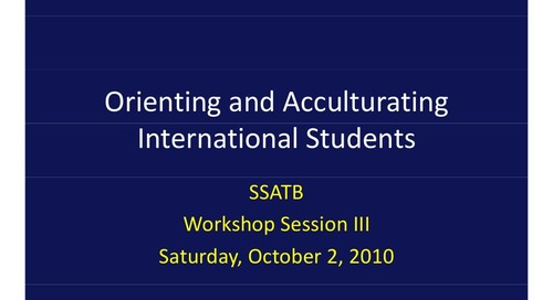 Orienting and Acculturing International Students