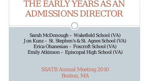 The Early Years as an Admission Director
