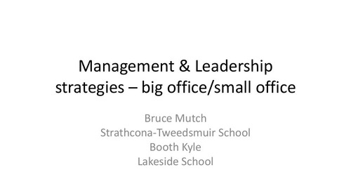 Management & Leadership Strategies-Big School/Small School