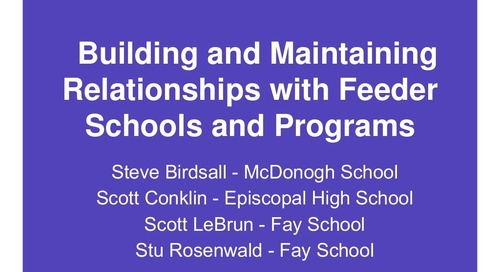 Building and Maintaining Relationships With Feeder Schools and Programs
