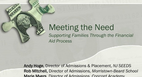 Meeting the Need: Supporting Families During the Financial Aid Process