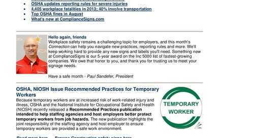 Sept. 2014 ComplianceSigns Connection Workplace Safety Newsletter