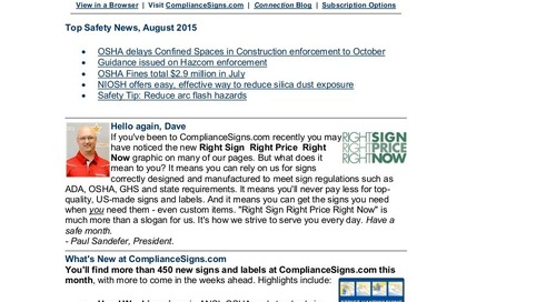 August 2015 ComplianceSigns Connection Workplace Safety Newsletter
