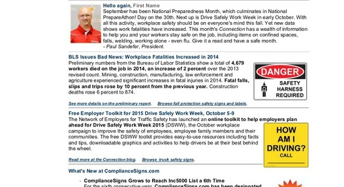 September 2015 ComplianceSigns Connection Workplace Safety Newsletter
