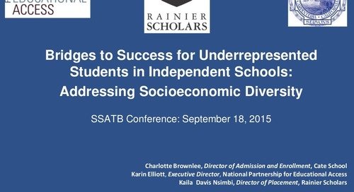 Addressing Socioeconomic Diversity: Bridges to Success for Underrepresented Students in Independent Schools
