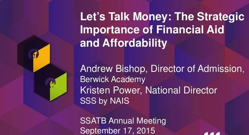 Let's Talk Money: The Strategic Importance of Financial Aid and Affordability