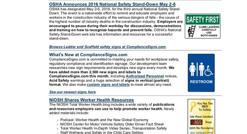February 2016 ComplianceSigns Connection Workplace Safety Newsletter