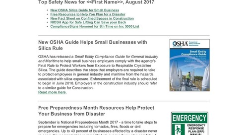 August 2017 ComplianceSigns Connection Workplace Safety Newsletter