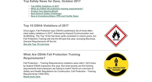 October 2017 Conection Workplace Safety Newsletter