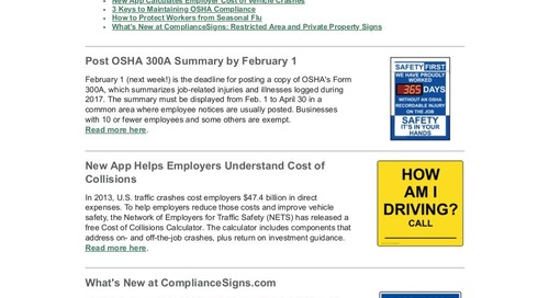 January 2018 ComplianceSigns Connection Workplace Safety Newsletter