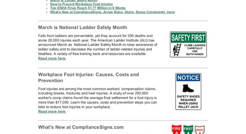 February 2018 ComplianceSigns Connection Workplace Safety Newsletter