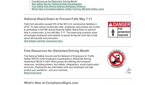 March-April 2018 ComplianceSigns Connection Workplace Safety Newsletter