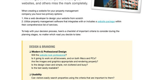 Keys to a Successful Website: A Checklist for Property Managers (eBook)