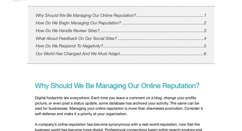 Managing Your Online Reputation (eBook)