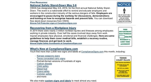 April 2016 ComplianceSigns Connection Workplace Safety Newsletter