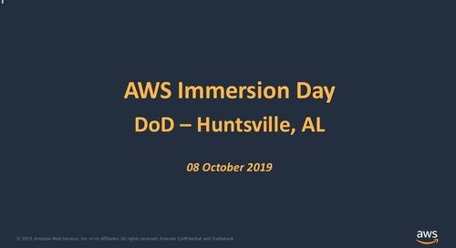 AWS Partner Engagement Opportunities for DoD, Immersion Day Huntsville 2019