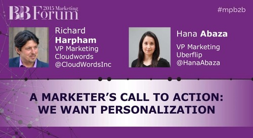 A Marketer's Call to Action: We Want Personalization
