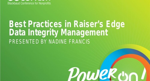 Best Practices in Raiser's Edge Data Integrity Management