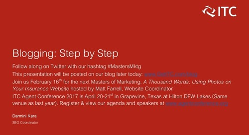 Masters of Marketing: Blogging Step-by-Step