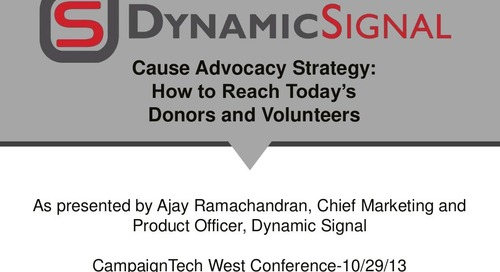 Cause Advocacy Strategy: How to Reach Today's Donors and Volunteers