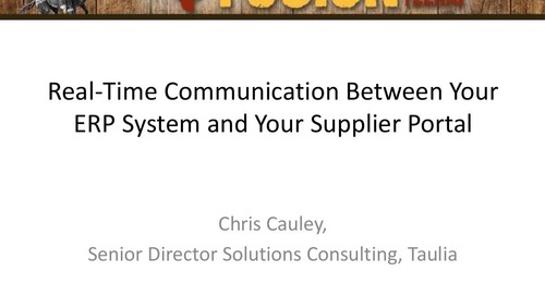 Presentation: Communication Between Your ERP and Portal