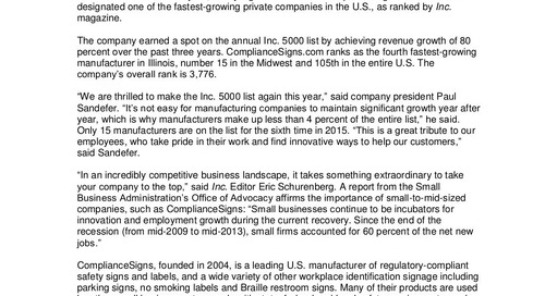 ComplianceSigns.com Named a Fastest-Growing Company for Sixth Time