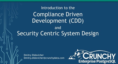 Introduction to the Compliance Driven Development (CDD) and Security Centric System Design