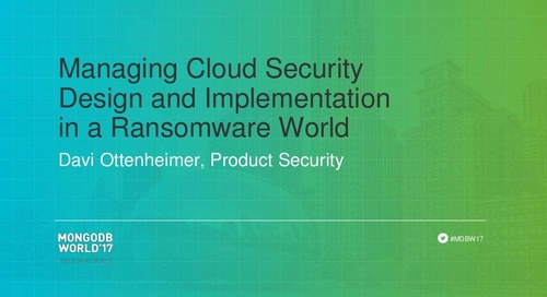 Managing Cloud Security Design and Implementation in a Ransomware World