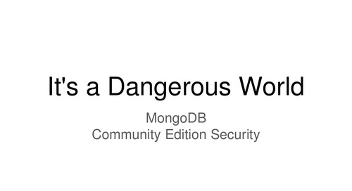 Making Your MongoDB Community Edition Installation More Secure
