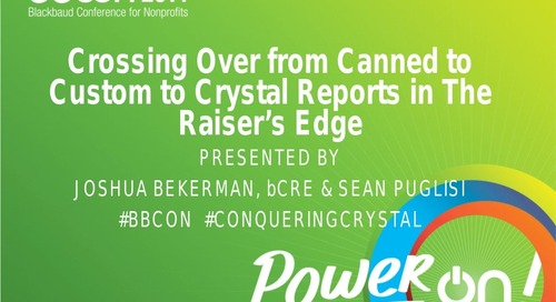 Crossing Over from Custom to Crystal Reports in The Raiser's Edge